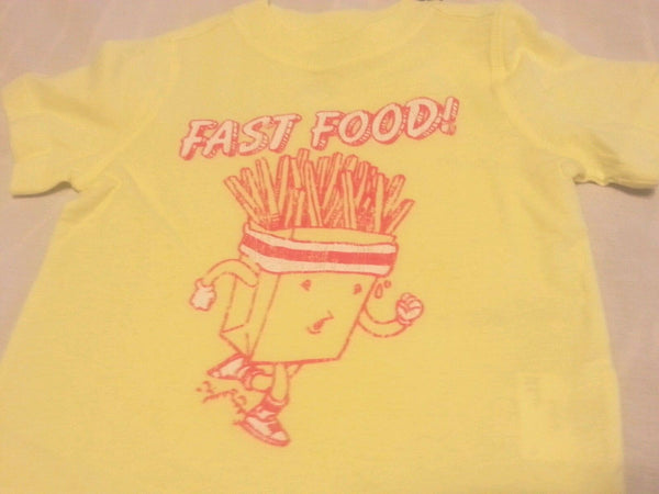 Boys Tee Shirt 18-24 Months Baby Old Navy Yellow Fast Food Short Sleeve