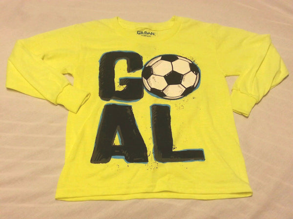 Boys Tee Shirt Sz XS 4-5 Neon Yellow Kids GOAL