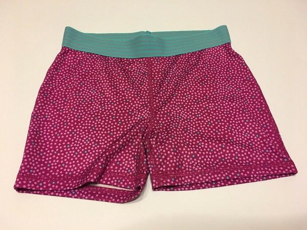Girls Fitted Compression Shorts Danskin Large Berry Dot