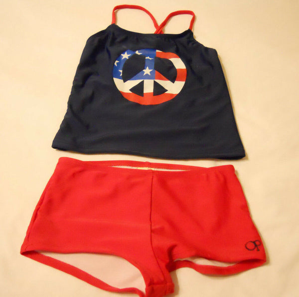 2-Piece Op SwimSuit Tankini Set Kids Swimwear M 7-8 Girls Red Blue Peace UPF 50+