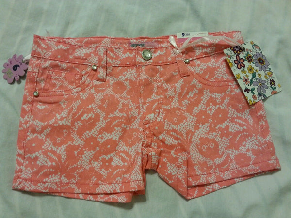 Girls Shorts Size 6 Adjustable Waistband Crest Jeans Orange
