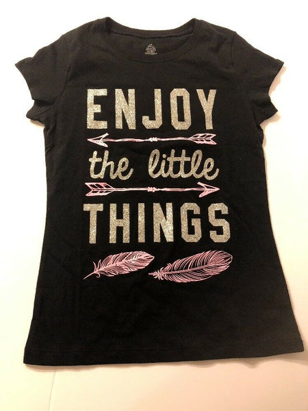 Girls Tee Shirt Kid Size L 10-12 Graphic Print Glitter Black