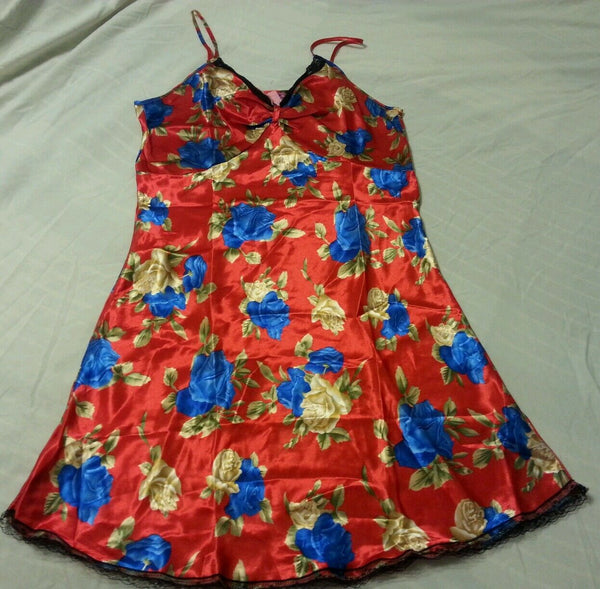 Women Gown Sleepwear Medium Flower Red Print