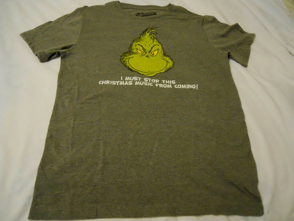 Men Tee Shirt Small Old Navy Gray I Must Stop This Christmas Music From Coming