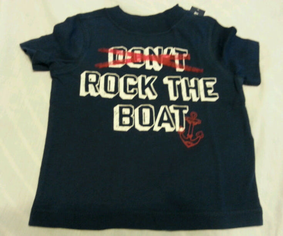 Boys Tee Shirt 12-18 Months Old Navy Baby Blue Don't Rock The Boat Short Sleeve