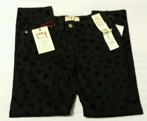 l.e.i. Girls Skinny Pants Sz 12 Reg Kate Lowrise Black Heart Layla Kids
