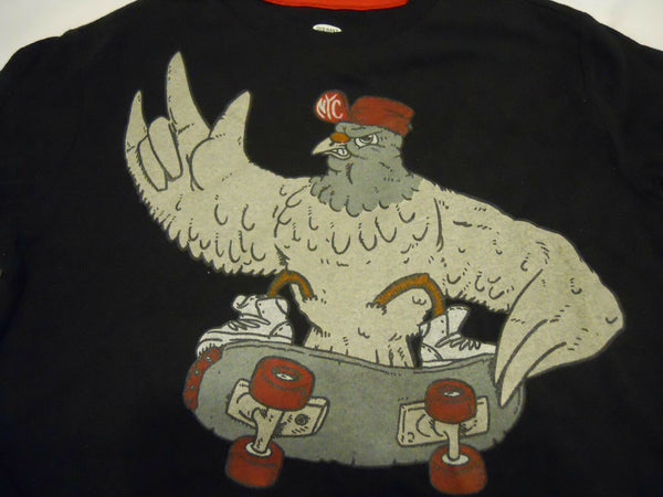 Old Navy Boys Tee Shirt Size M 8 NYC Skateboard Chicken Black Long Sleeve