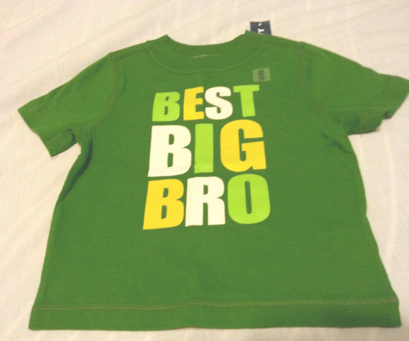 Old Navy Boys Tee Shirt 12-18 Months Baby Best Big Bro Green Short Sleeve