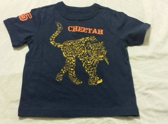 Boys Tee Shirt Baby Blue Short Sleeved Cheetah Print Baby