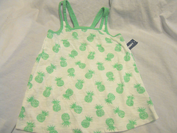 Old Navy Tank Top Shirt Size 5T Baby Girls Green White Pineapple Print