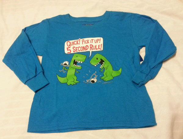 Boys Tee Shirt XS 4-5 Turquoise Kids 5 Second Rule!