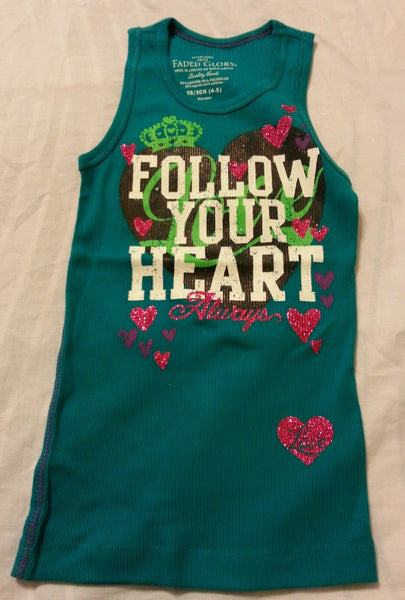 Girls Tank Top Glitter Shirt Sz XS 4/5 Graphic Follow Your Heart Print