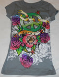 Girls Tee Shirt Sz 4/5 Gray Graphic Peace Roses