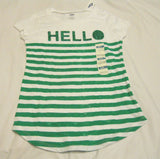 Girls Tee Shirt Sz M 8 White Green Stripe Hello Old Navy