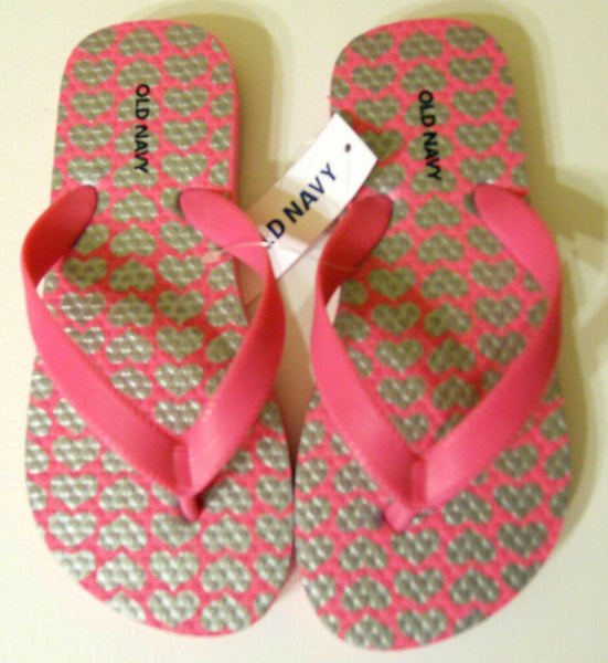 Girls Old Navy Flip Flop Sz 10/11 12/13 1/2 Black Pink Hearts Silver