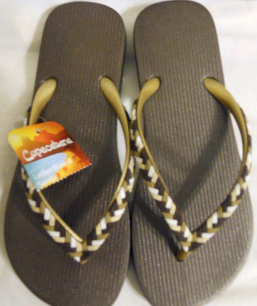 Women Ladies Flip Flops Shoes Sandals Brown Braided Copacabana