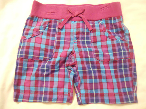 Girls Bermuda Shorts Plaid Faded Glory Pull On