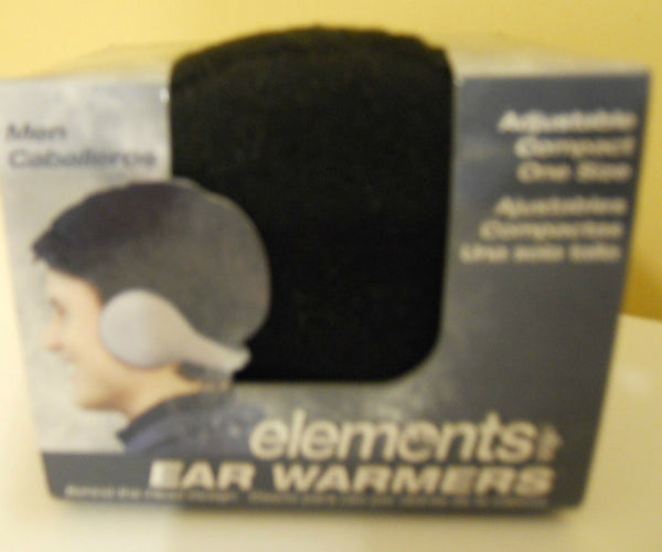 Ear Warmers Black One Size Women Men Unisex Behind the head Fleece Fabric