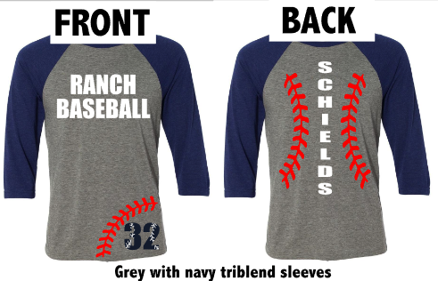 Baseball Raglan with Laces down the back