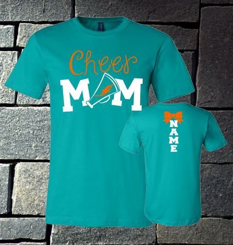 Dolphins Cheer Mom with name on back - Teal