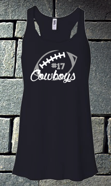 Cowboys football tank - ladies with number