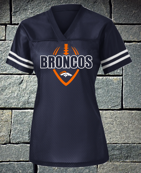 Broncos Football Outline Ladies Replica Football Jersey