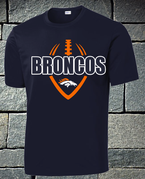 Broncos Football outline dri fit and t-shirts