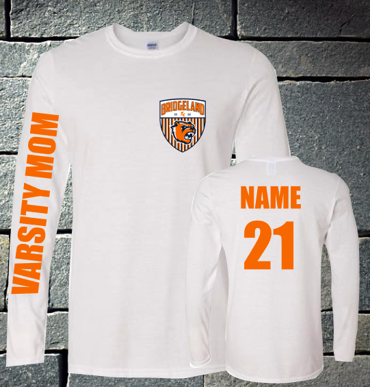 Bridgeland Soccer Varsity Mom Long sleeve - white