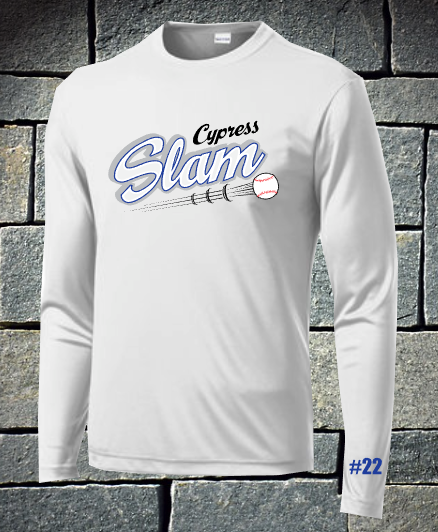 Slam baseball long sleeve dri fit with number - logo