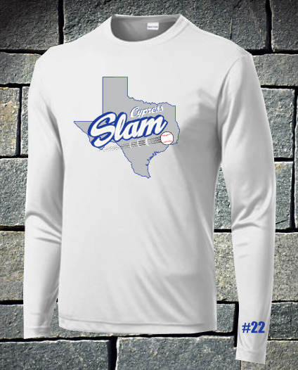 Slam baseball long sleeve dri fit with number - Texas logo