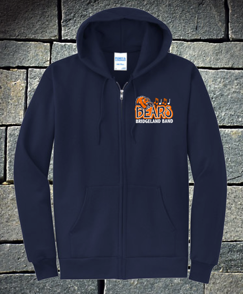 Bridgeland Bears Band Zip up Hoodie with music notes