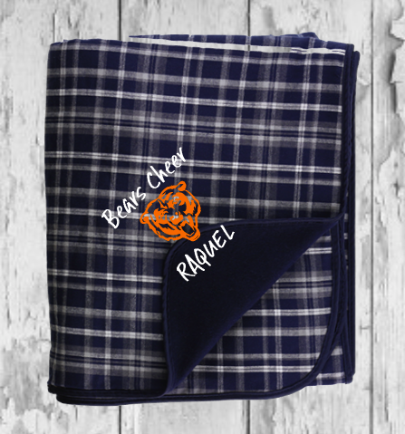 Navy and White Bears Flannel Blanket