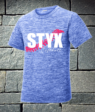 Styx Heathered Electric Blue Styx with cursive softball