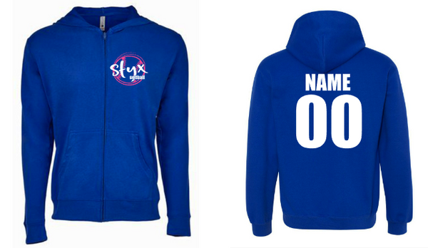 STYX zip softball hoodie - name and number on the back