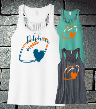 Dolphins 2 color Racerback tank