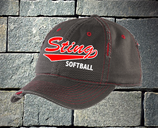 Sting grey with red distress baseball hat