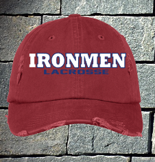 Ladies red distressed Ironmen Lacrosse logo