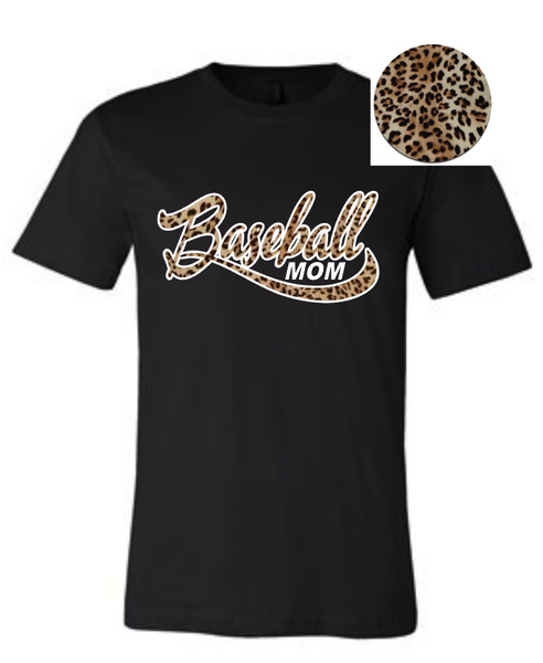 Black Leopard print baseball mom