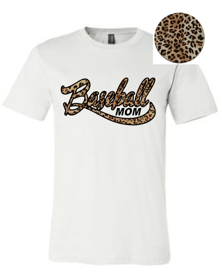 White Leopard print baseball mom