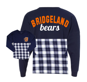 Bridgeland Bears Spirit Jersey navy and plaid adult large and medium