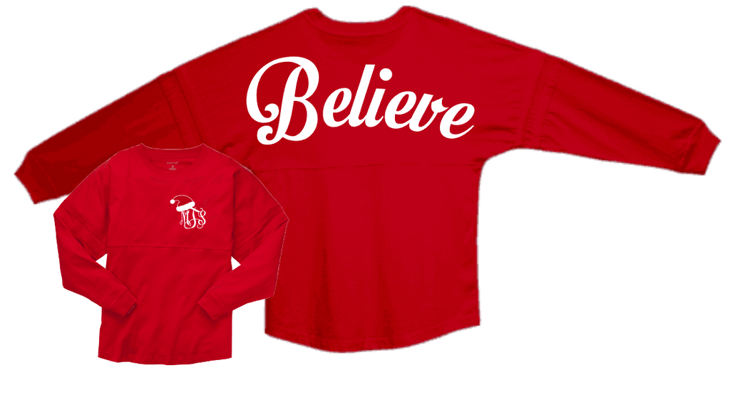 Believe Spirit Jersey with monogram front- youth large