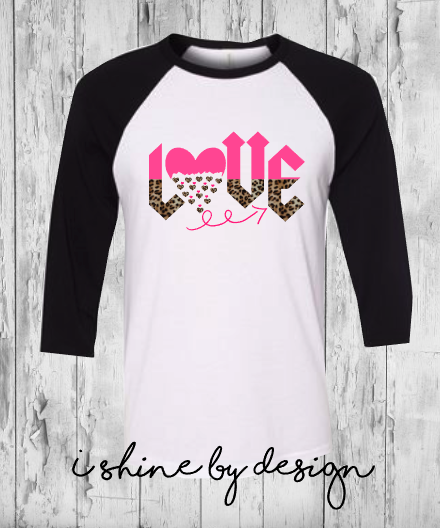 LOVE leopard and pink - white/black raglan - youth and adult sizes