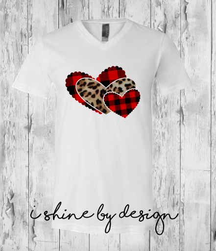 NEW - Triple Heart - leopard and buffalo plaid