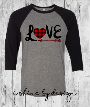 NEW - LOVE with arrow - heather/black raglan - youth and adult sizes