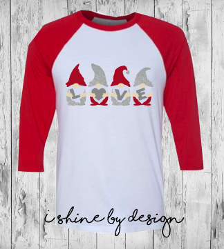 NEW - LOVE gnomies - red/white raglan - youth and adult sizes