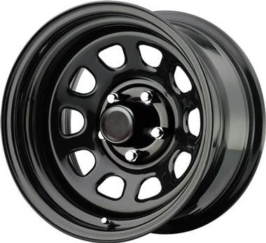 Procomp Series 51, 15x8, 5 on 4.5 Bolt Pattern, 3.75 Back Spacing with Blk Center Caps-Gloss blk