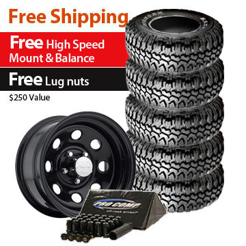 Maxxis Big Horn Tire 35x12.50R15 and Pro Comp Wheel 15x8 Package - Set of 5