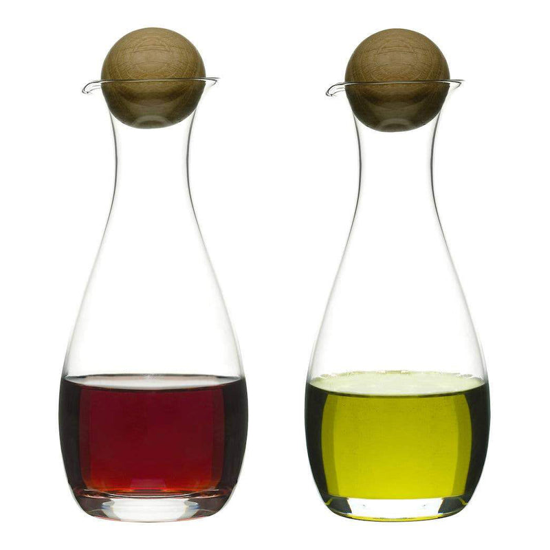 Oil & Vinegar Bottles with Oak Stoppers, 2-pack
