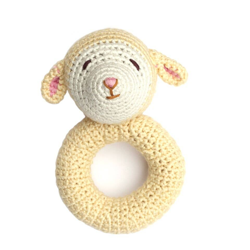 Cheengoo - Lamb Ring Hand Crocheted Rattle