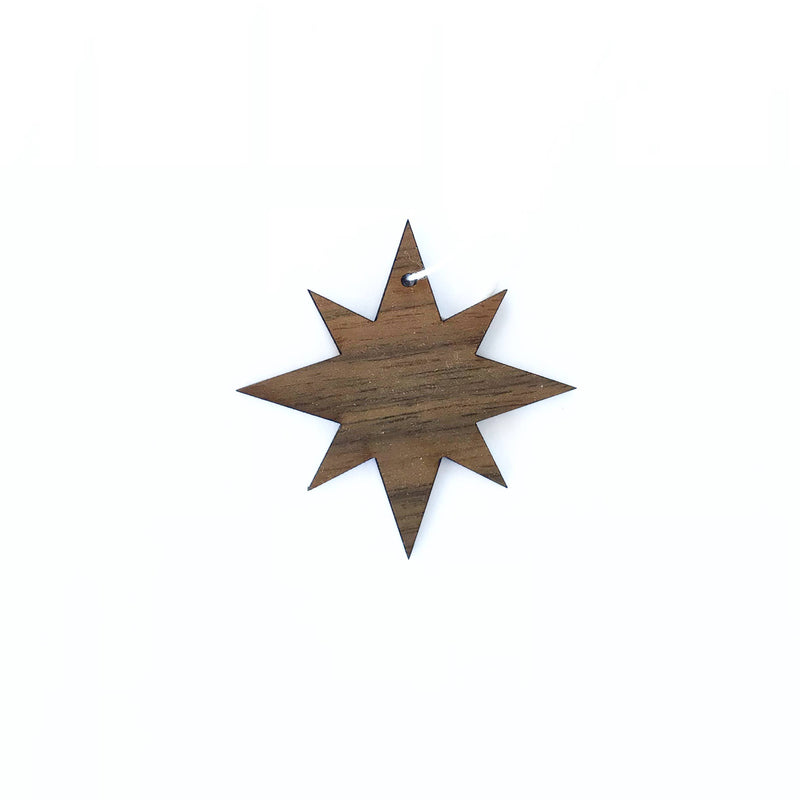 Walnut Star Ornament